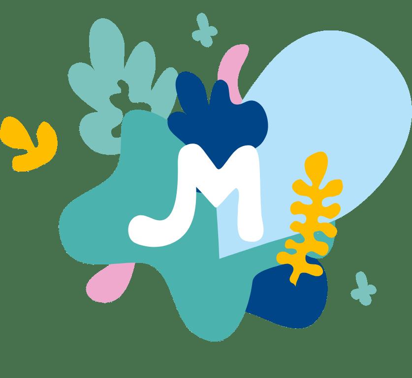 Illustration colorée avec un M