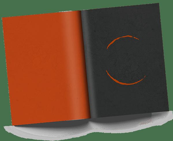 Livre ouvert noir et orange avec logo
